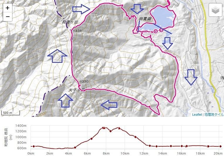 天子ヶ岳、長者ヶ岳登山のルート標高差地図