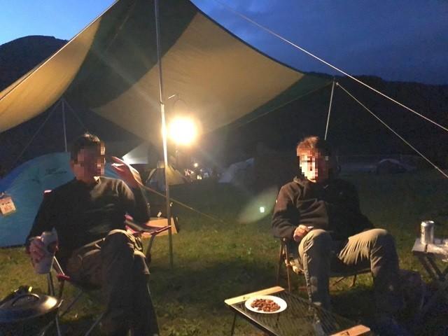 田貫湖キャンプ場でキャンプ開始の様子