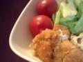 鶏もも肉のチキン南蛮(ソウルフード!)と熊本産塩トマト。