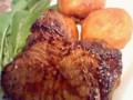 宮崎牛のランプ肉ステーキとあげじゃが。
