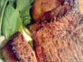 宮崎牛のランプ肉ステーキと揚げじゃが。