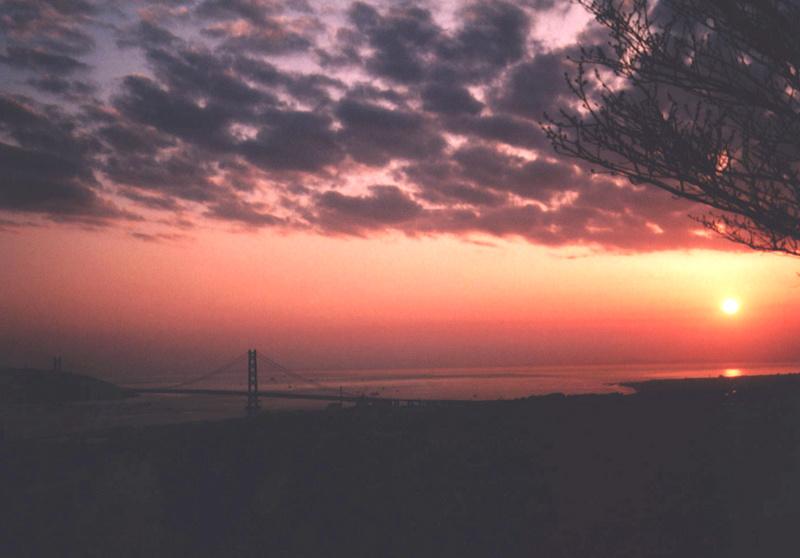日没 明石大橋