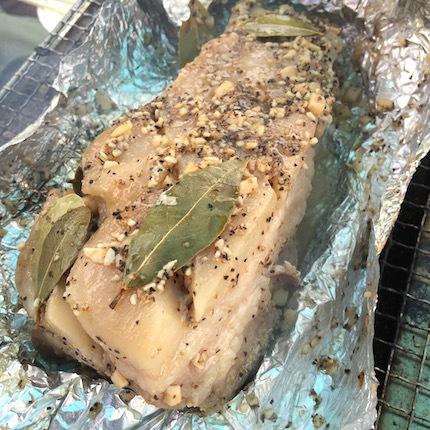 豚バラブロックのアルミホイル焼き
