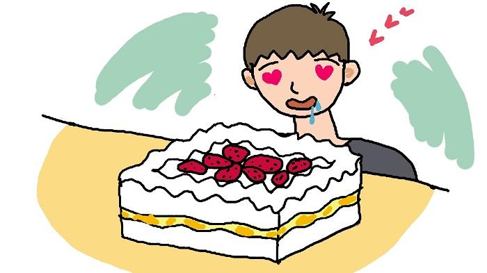 イチゴケーキのイラスト