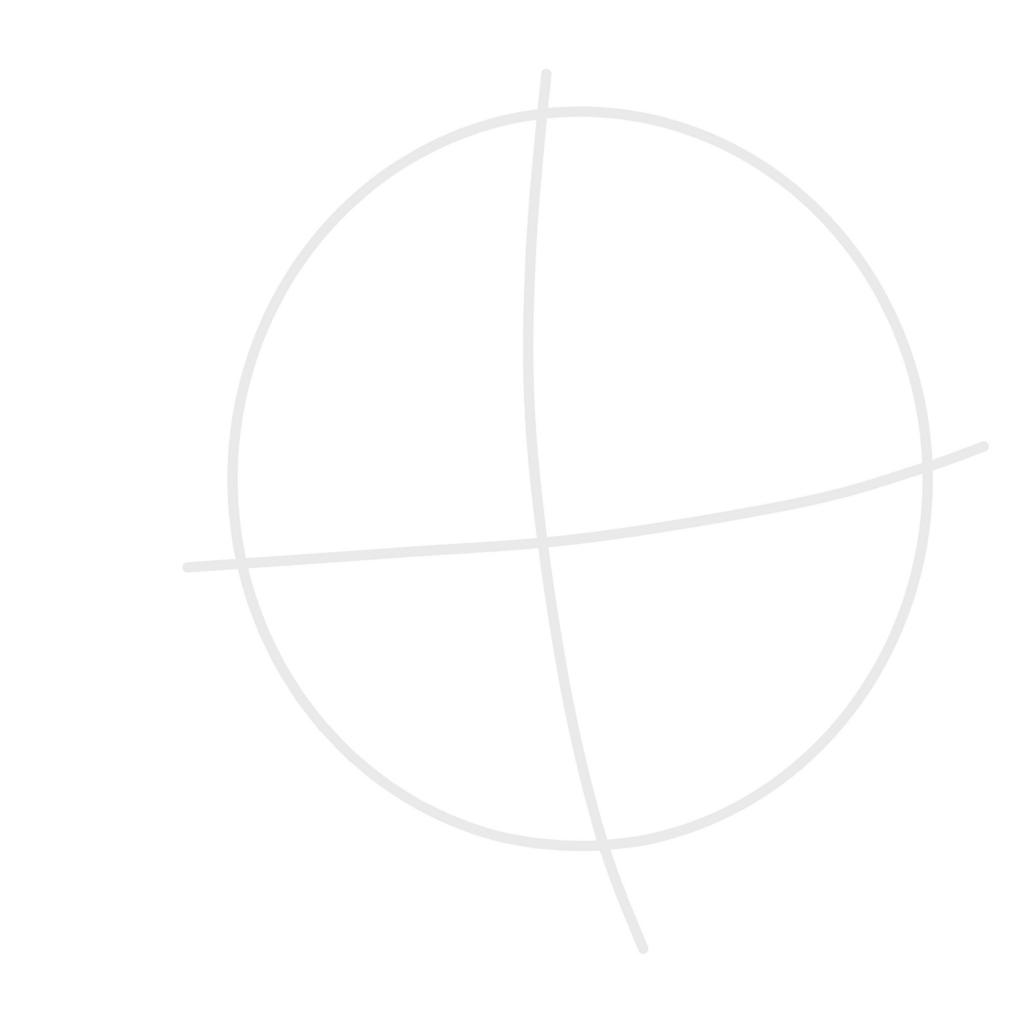 顔の中心線 + 丸