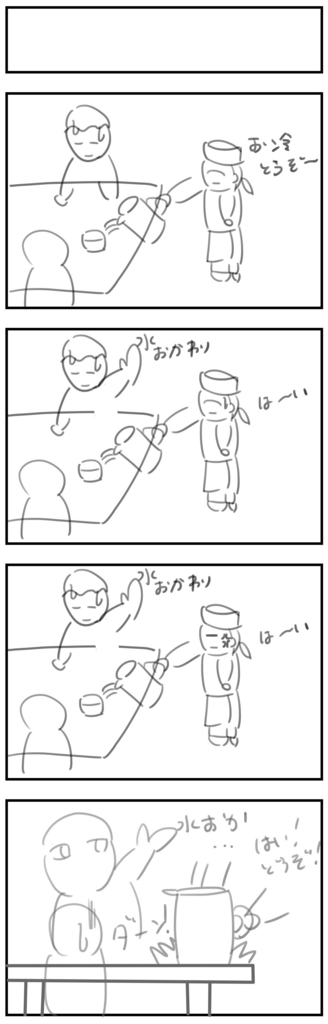 4コママンガ製作【ある日のファミレス】のラフ画