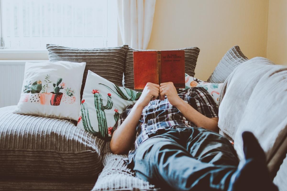 男性、本を読んでいる、ソファー