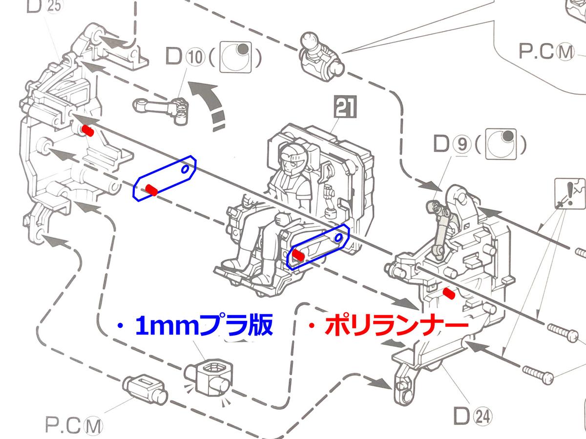 MG イングラム1号機 コックピット昇降ギミックの詳細図