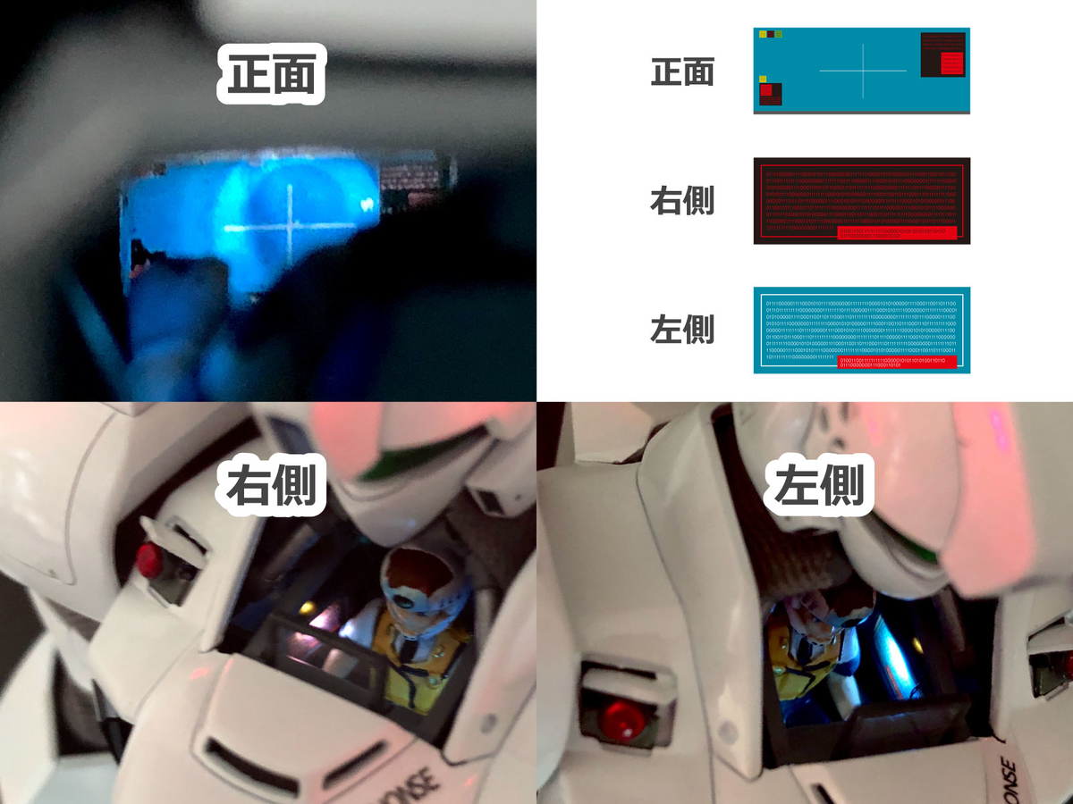 MG イングラム1号機 コックピット発光の詳細と自作デカール