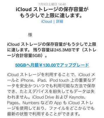 iCloudからのメール