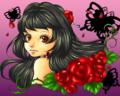 藤色とバラ