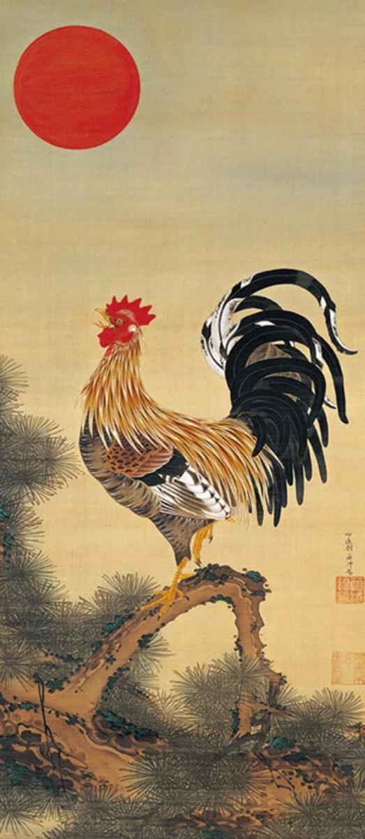 伊藤若冲『旭日雄鶏図』