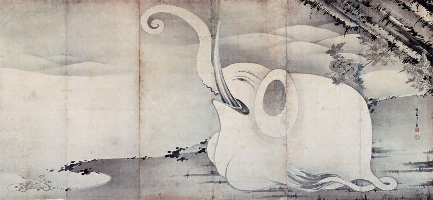 伊藤若冲『象と鯨図屏風』