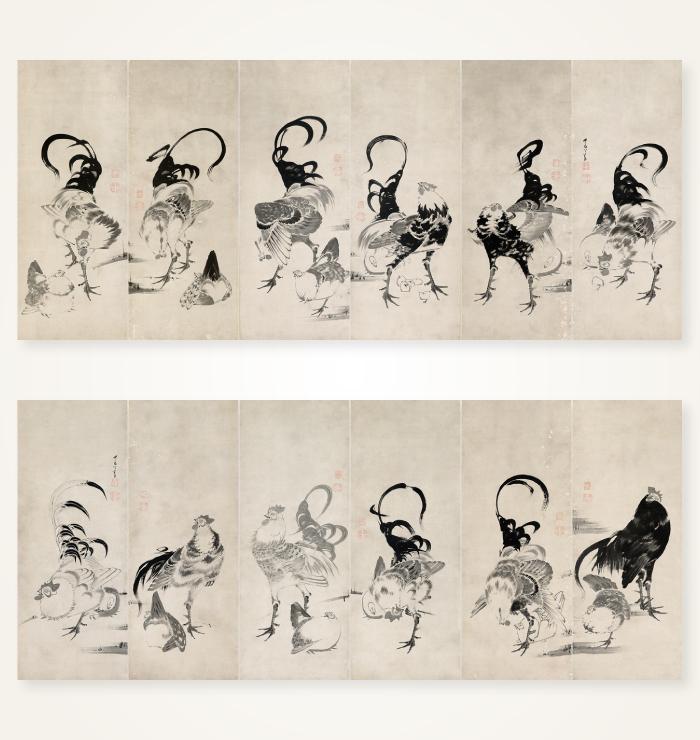 伊藤若冲『鶏図押絵貼屏風』
