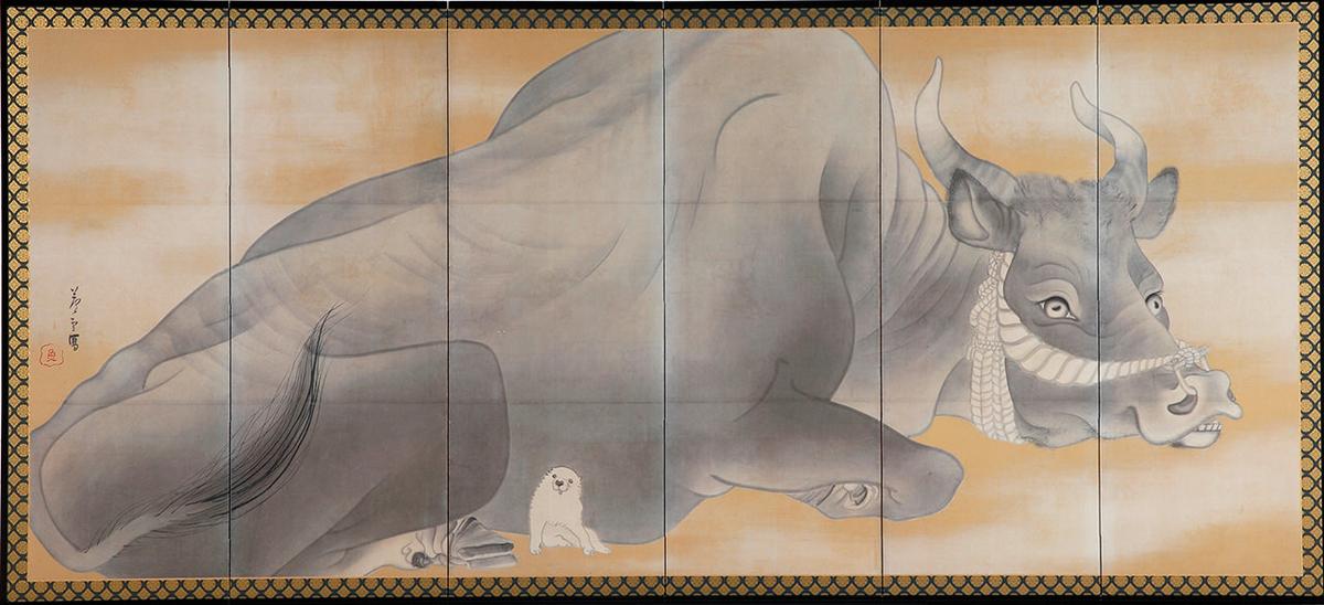 長沢芦雪『白象黒牛図屏風』