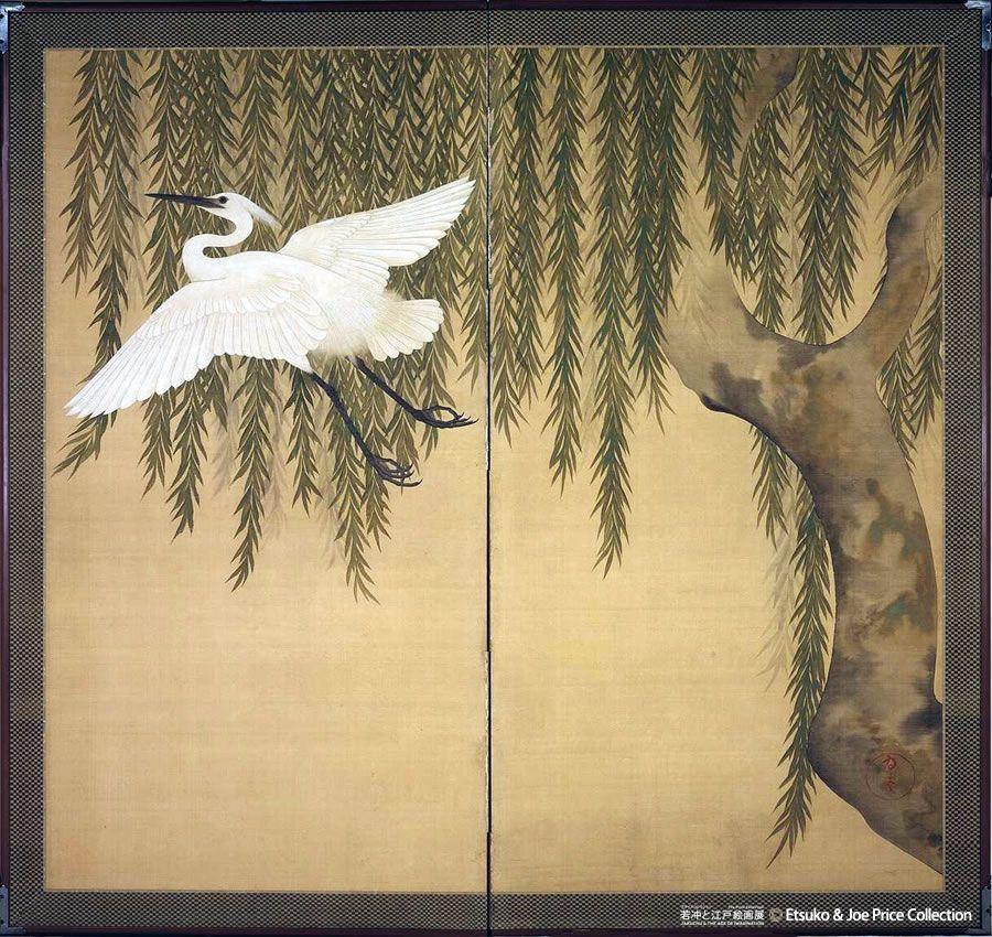 鈴木其一『柳に白鷺図屏風』