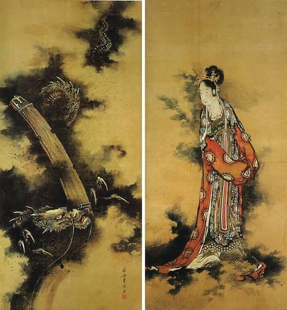 葛飾北斎「玉巵弾琴図」画像