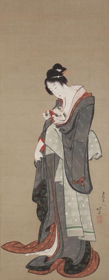 葛飾北斎「美人愛猫図」画像