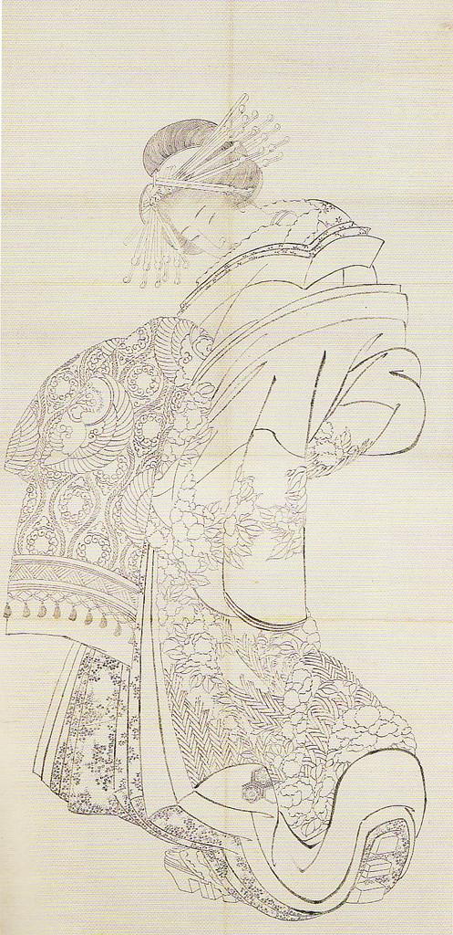 葛飾北斎「花魁図(画稿)」画像