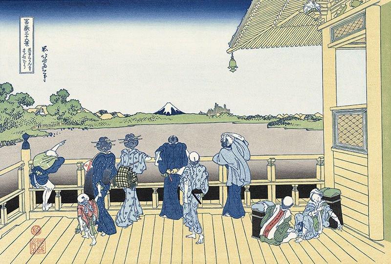 葛飾北斎「冨嶽三十六景 五百らかん寺さざゐどう」画像