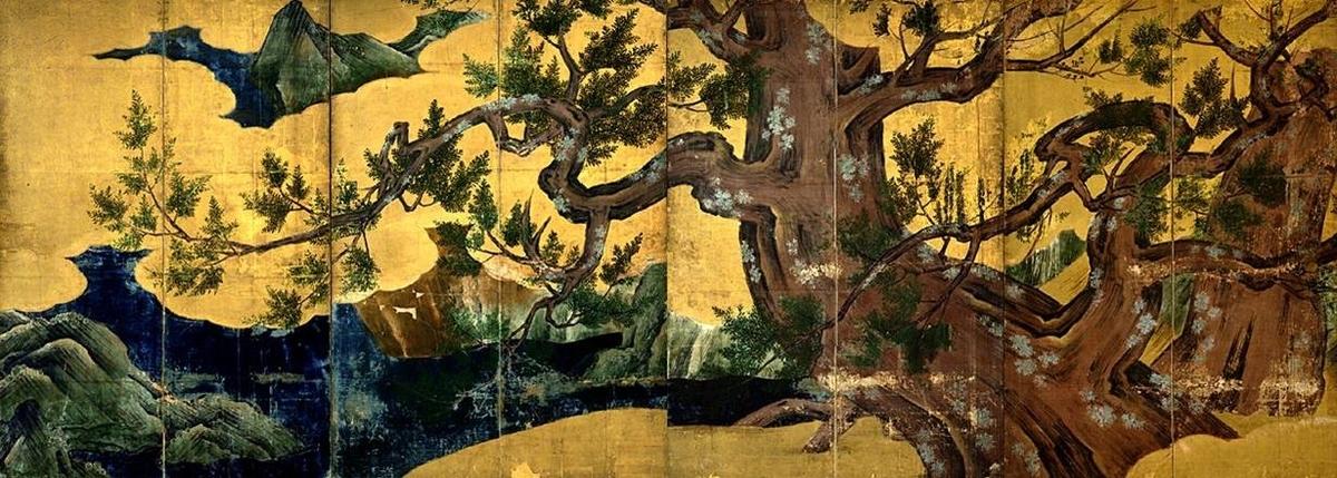 作品名:檜図屏風 作者:狩野永徳 時代:安土桃山時代・天正18年(1590) 所蔵:東京国立博物館 指定:国宝