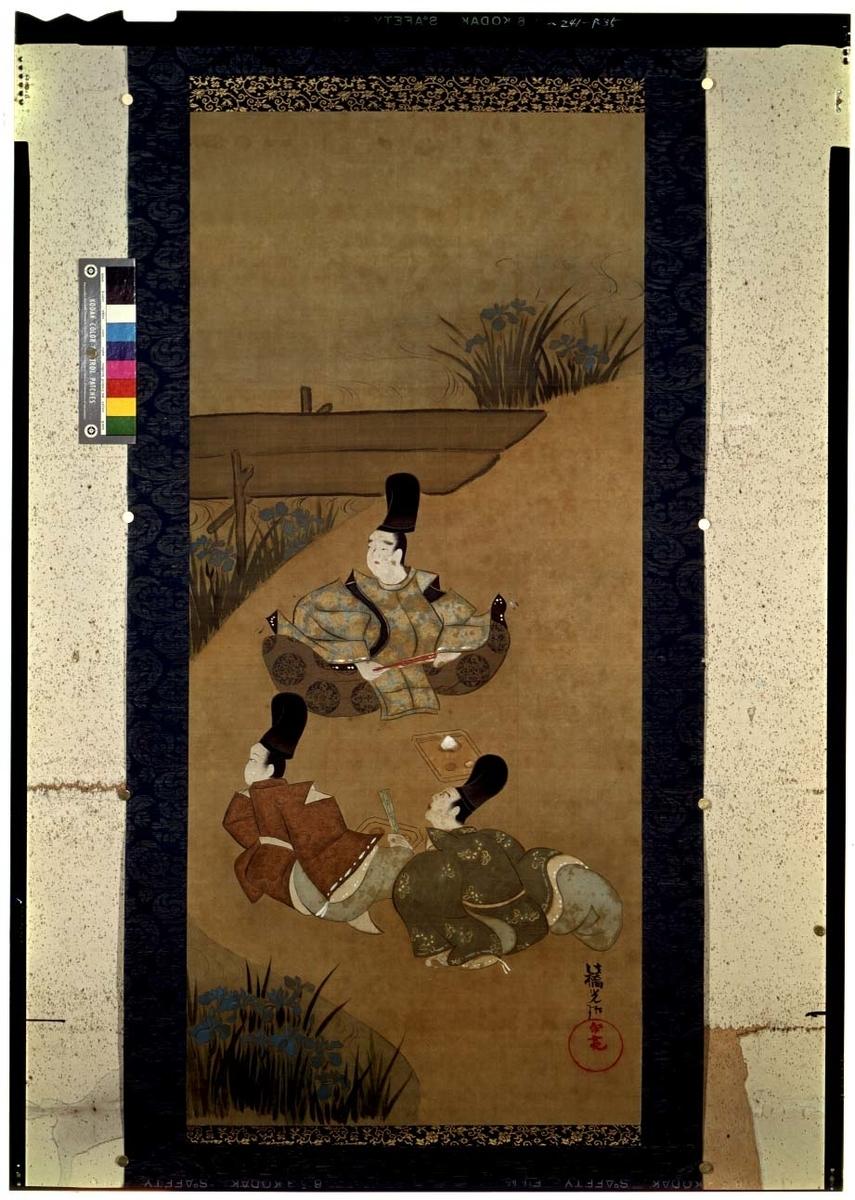 作品名:伊勢物語 八橋図 作者:尾形光琳 時代:江戸時代・18世紀 所蔵:東京国立博物館