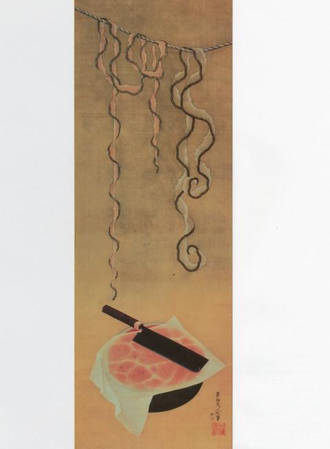作品名:西瓜図 作者:葛飾北斎 時代:江戸時代・天保10年(1839) 所蔵:宮内庁三の丸尚蔵館
