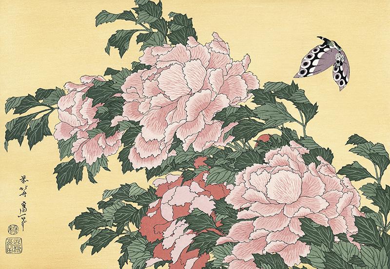 作品名:花鳥版画「牡丹に蝶」 作者:葛飾北斎 時代:江戸時代・19世紀 所蔵:東京国立博物館