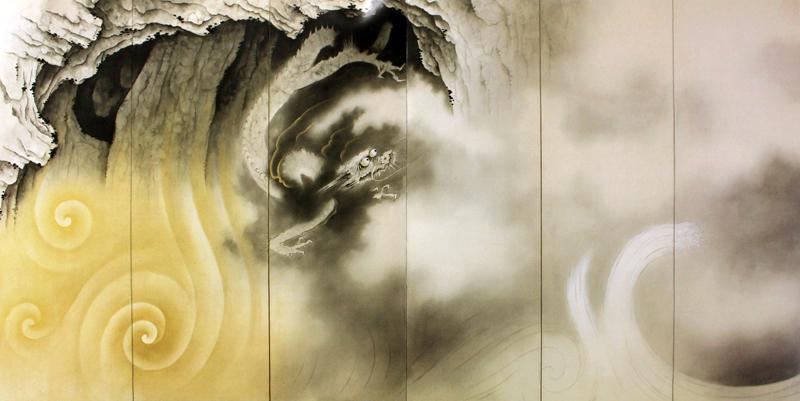 作品名:龍蛟躍四溟 作者:横山大観 時代:昭和11年(1936) 所蔵:宮内庁三の丸尚蔵館