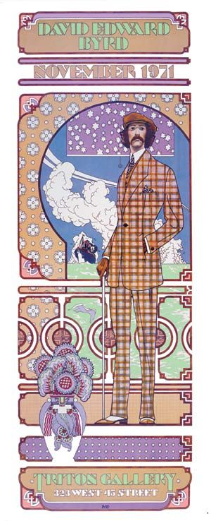 作品名:ニューヨーク、トリトン・ギャラリーでの個展━ダンディーとしてのセルフポートレート 英 題:David Edward Byrd at Trlton Gallery, New Yorks: Self Portrait as a dandy (promotional poster for the artist's solo exhibition) 作 者:デヴィッド・エドワード・バード