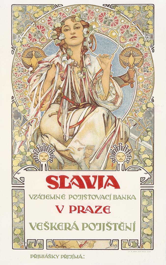 作品名:スラヴィア:プラハ、スラヴィア保険相互銀行のためのポスター 英 題:Slavia: poster for the Slavia insurance Bank, Prague
