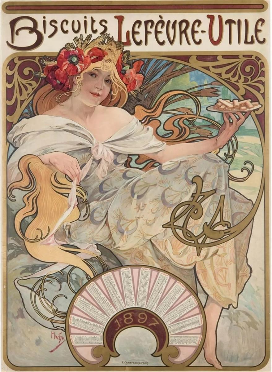 作品名:『ルフェーヴル・ユティル』ビスケット社:1897年用プロモーション・カレンダー 英 題:Biscults 'Lefèvre-Utile': poster-calendar for 1897