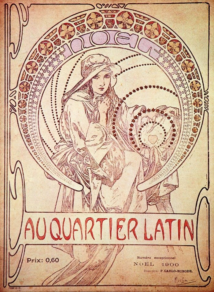 作品名:『オー・カルティエ・ラタン』誌・表紙 英 題:Au Quartier Latin cover (Christmas 1900, published by Strauss, Paris)