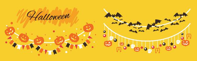 ハロウィンパーティの飾り付けのかわいいイラスト(無料)