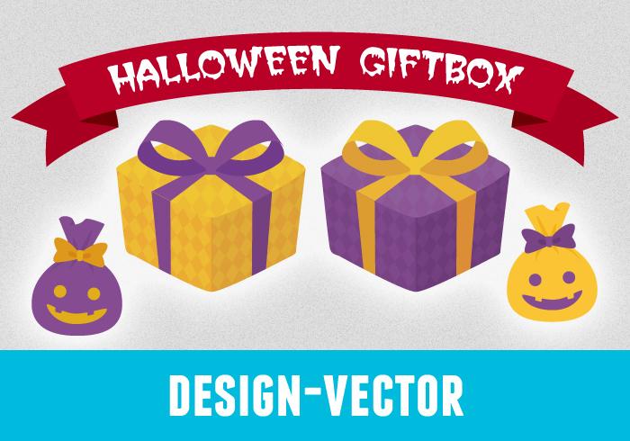ハロウィン風ギフトプレゼントボックスのイラスト素材(PNG)