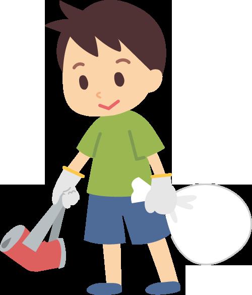 ゴミ拾いする健気な男の子の商用の無料イラスト素材!