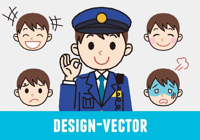 警察官(男性・冬服)のOKポーズと表情5パターンのイラスト素材・商用無料(PNG)