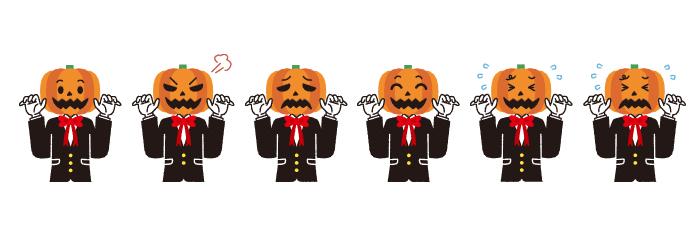 【ハロウィン】カボチャ男の表情6パターンのかわいいイラスト素材・商用無料(PNG)(無料)