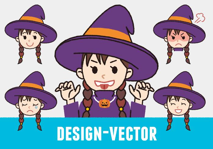 【ハロウィン】魔女の表情5パターンのかわいいイラスト素材・商用無料(PNG)