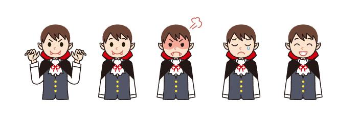 【ハロウィン】吸血鬼・バンパイア・ヴァンパイアの表情5パターンのかわいいイラスト素材・商用無料(PNG)