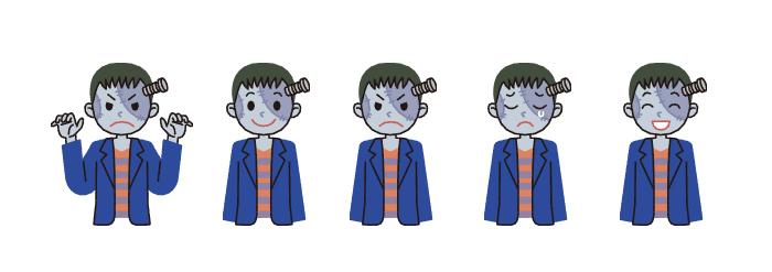 ハロウィン・フランケンシュタイン・表情5パターン・イラスト素材・商用無料・png