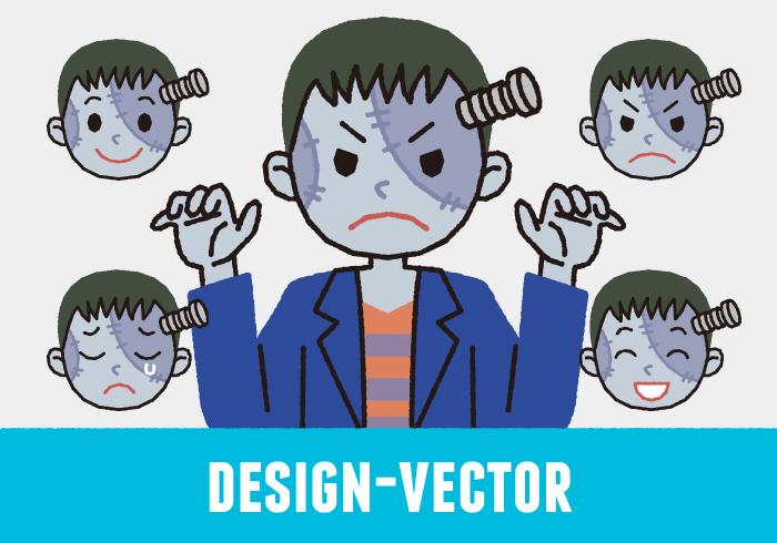 【ハロウィン第5弾】フランケンシュタインの表情5パターンのかわいいイラスト素材・商用無料(PNG)