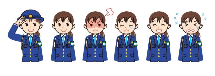 警察官・婦警・制服・女性・敬礼・イラスト素材・商用無料・png