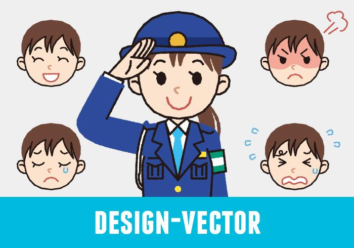 警察官(女性・冬服)・婦警の敬礼ポーズと表情5パターンのイラスト素材・商用無料(PNG)