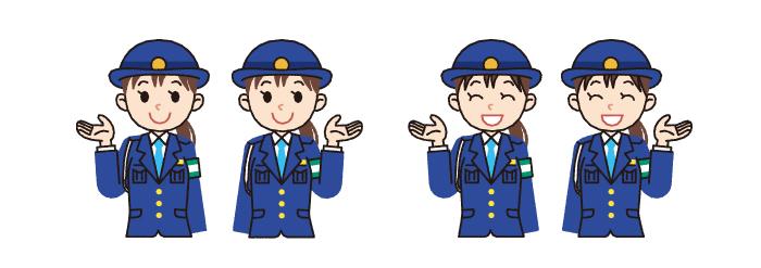 警察官・婦警・制服・女性・誘導・イラスト素材・商用無料・png