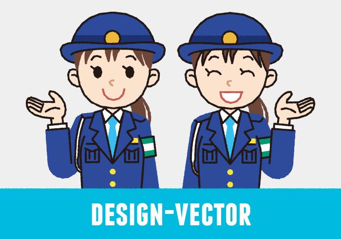 警察官(女性・冬服)・婦警の誘導のイラスト素材・商用無料(PNG)