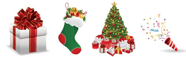 クリスマス・パーティ・豪華・ツリー・プレゼント・クラッカー・紙吹雪・イラスト素材・商用無料・png