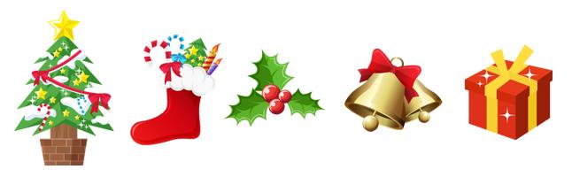 クリスマス・パーティー・プレゼント・ギフトボックス・べル・くつした・イラスト素材・商用無料・pn