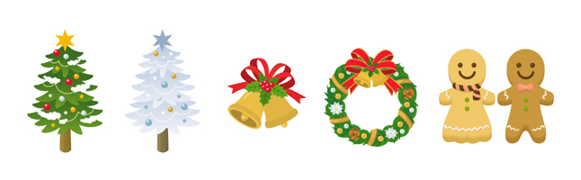 クリスマス・パーティー・ベル・リース・クッキー・イラスト素材・商用無料・png