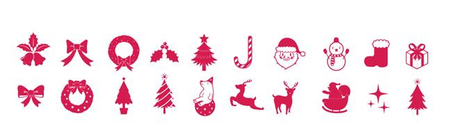 クリスマス・パーティー・サンタ・トナカイ・ゆきだるま・プレゼント・ギフトボックス・シルエット・イラスト素材・商用無料・eps